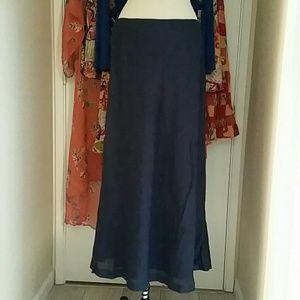 Vintage Linen Bias Cut Navy L Skirt J.G. Hook